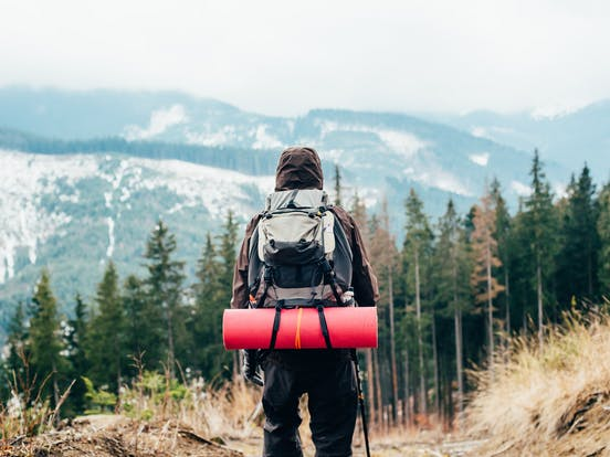 Backpacker hiking in the Colorado 14ers