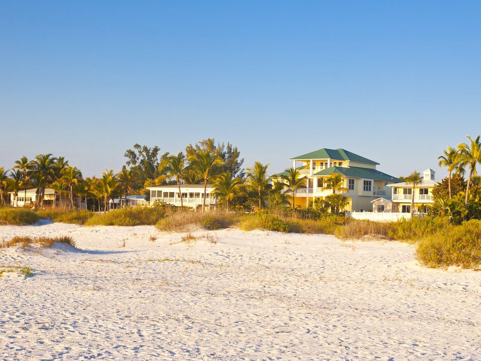 Florida coastline with beachfront vacation rentals