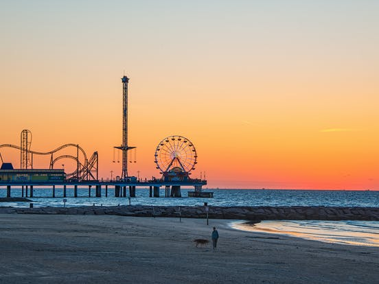 Galveston Texas beach and pier