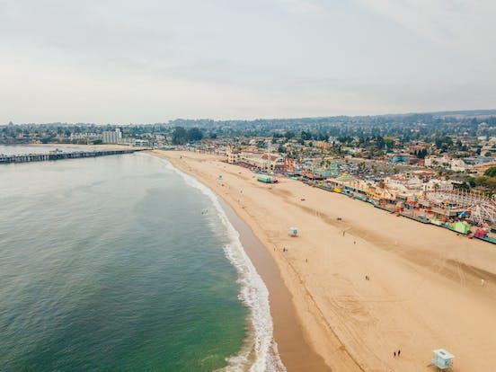 Aerial view of Santa Cruz beach boardwalk