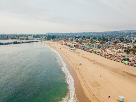 Aerial view of Santa Cruz beach boardwalk