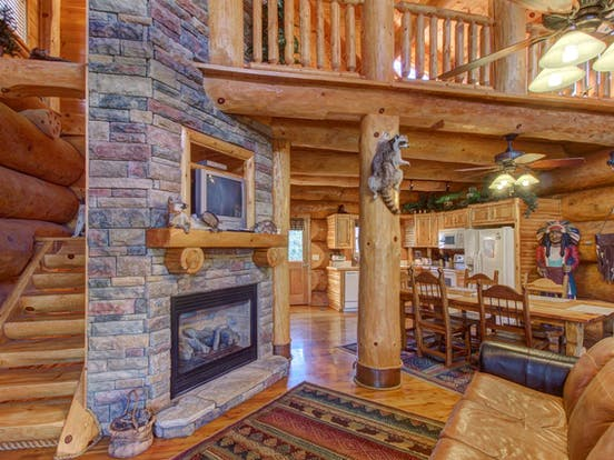 a fireplace and living room, with a stuffed raccoon  on the wall in a seiveville cabin