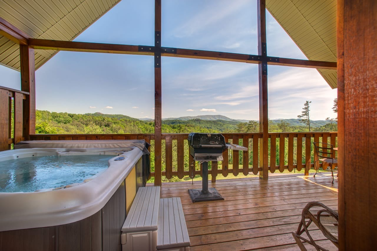a hot tub with an incredible with in the great smoky mountains