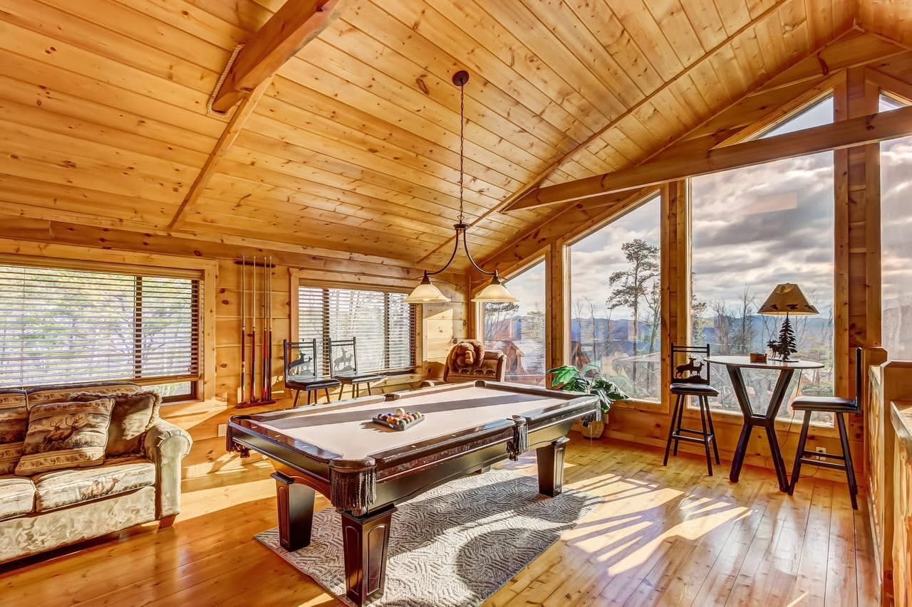 the game room at the Majestic Splendor Cabin in the Smoky Mountains, TN