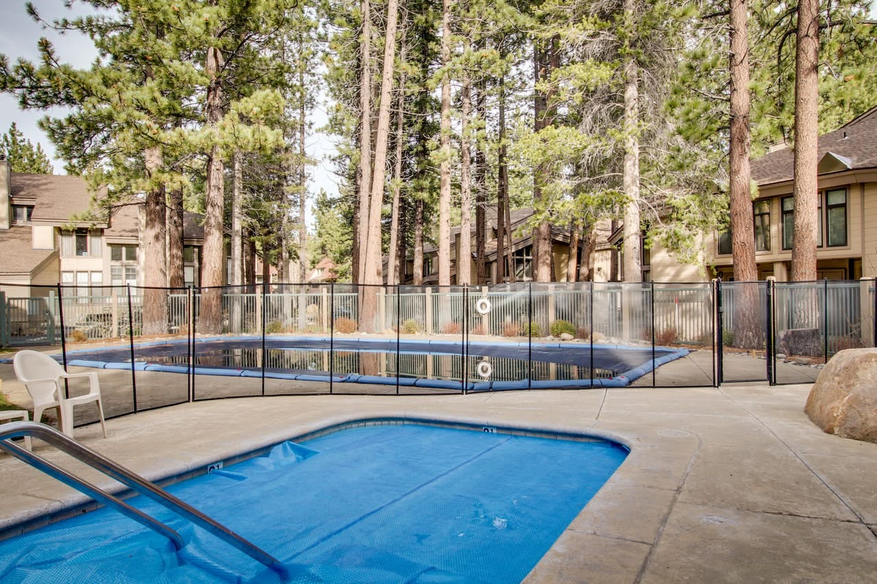 Shared outdoor pool located in Mammoth Lakes, CA