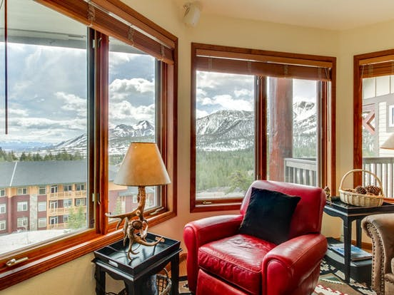 Comfy alcove of Mammoth Lakes, CA vacation rental with tons of natural light and breathtaking views