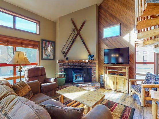 Stylish vacation condo with spiral staircase located in Mammoth Lakes, CA