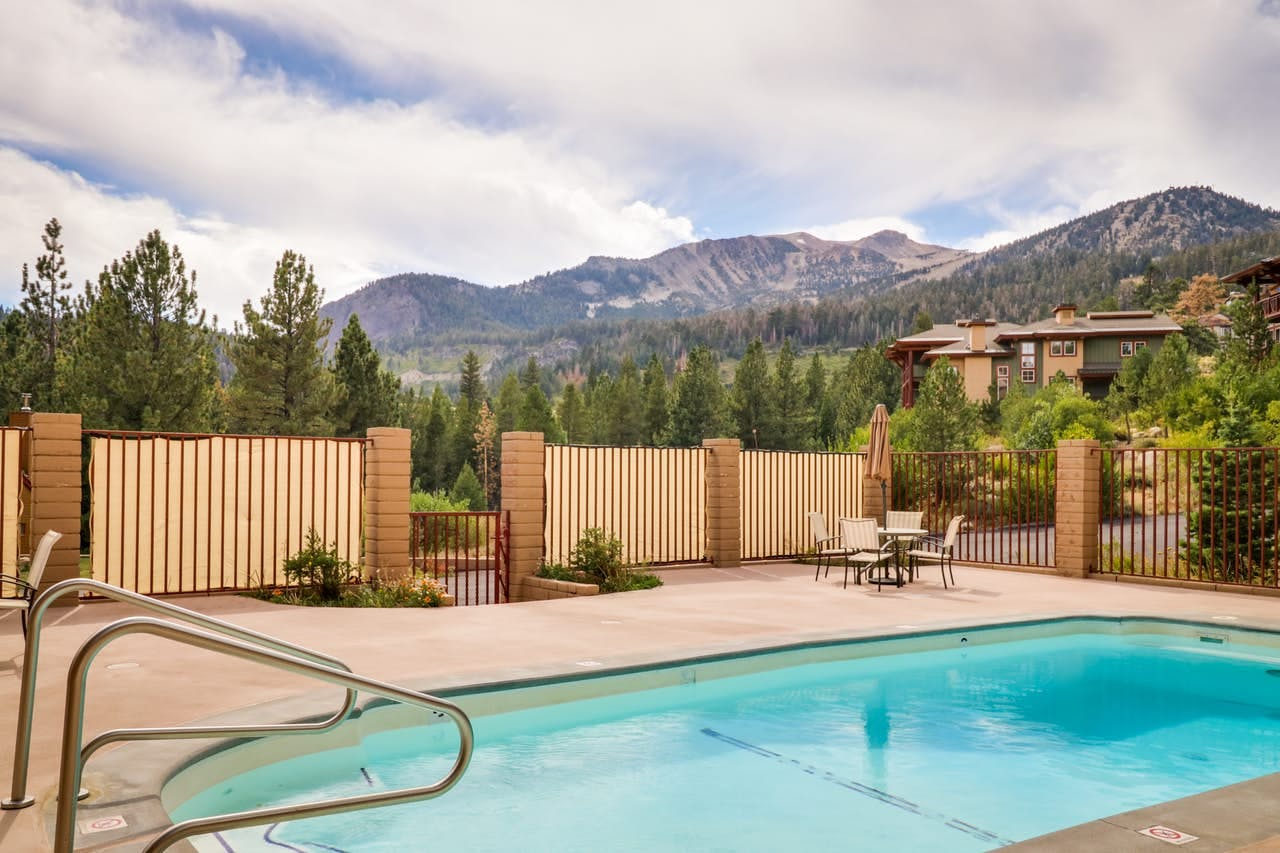 Shared outdoor pool with Mammoth Lakes mountain views
