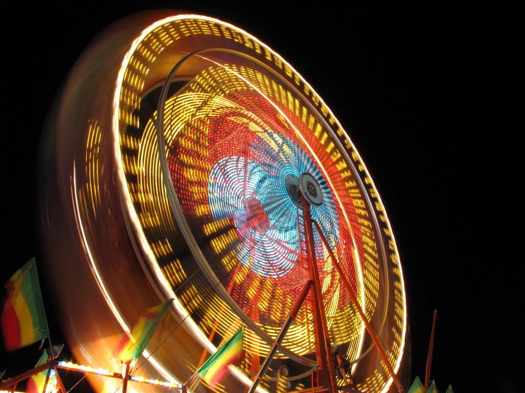 a ferris wheel lit up at the McCall Winter Carnival