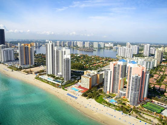 Aerial view of the Miami coastline