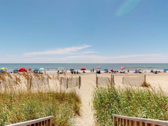 View of sandy beach in Myrtle Beach, SC