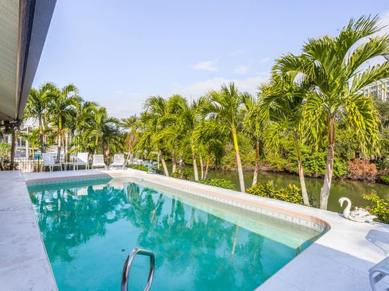 gorgeous pool overlooking the canal in Naples, FL