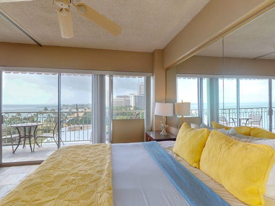 Interior of Oahu vacation rental with views of ocean