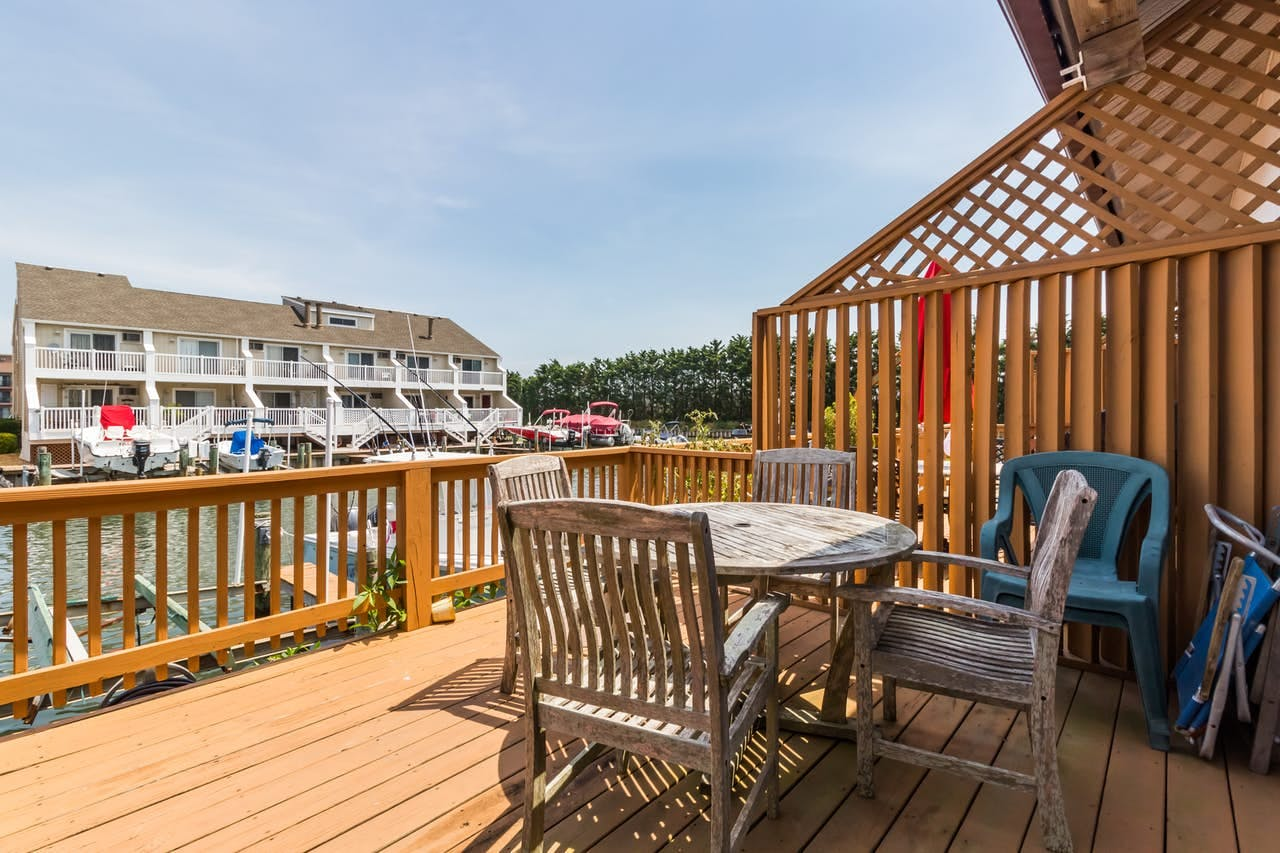 Deck overlooking dock at Ocean City, MD vacation rental