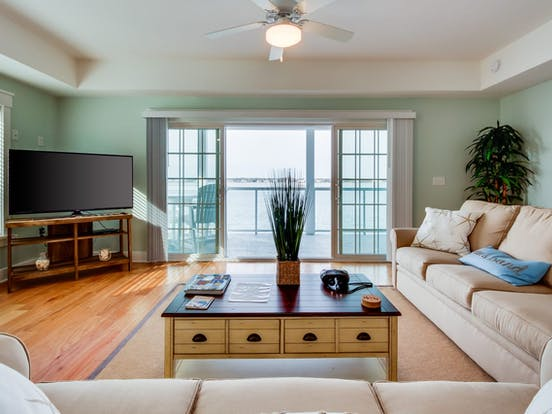 Bright and airy living room of Ocean City, MD vacation home