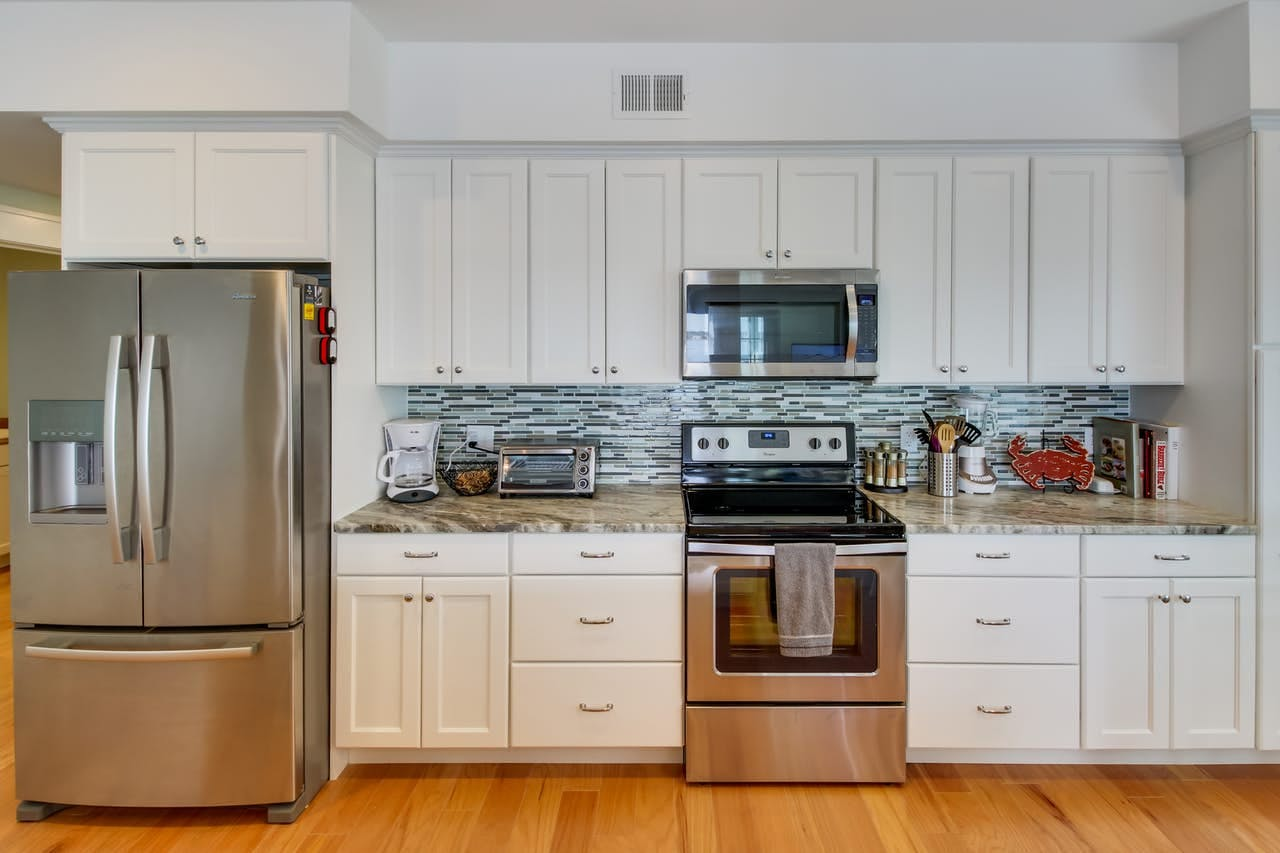 Kitchen with stainless steel appliances in Ocean City vacation condo