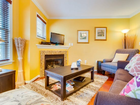 Colorful living space inside downtown Ocean City vacation rental