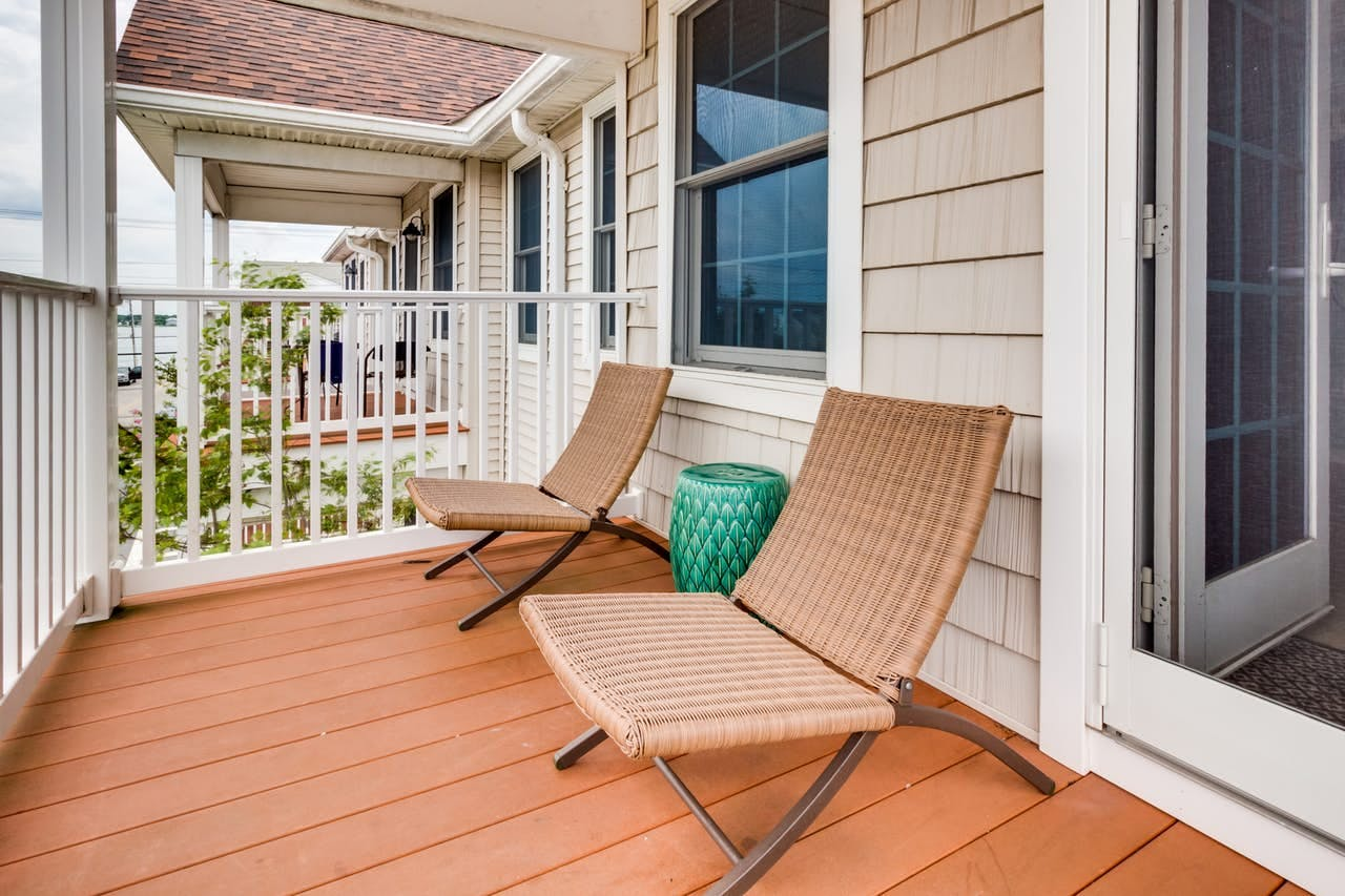 Front porch of downtown Ocean City, MD vacation townhome