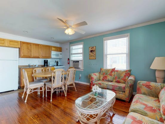 Interior blue painted walls of this Ocean City, MD vacation home
