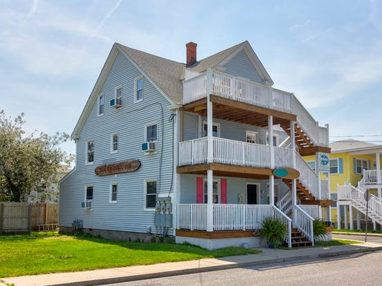 Triplex vacation rental with three decks located in Ocean City, MD
