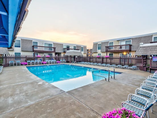 Outdoor pool located at Gullway Villas community in Ocean City, MD