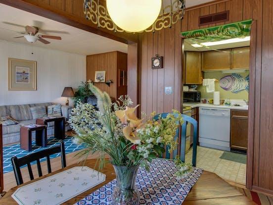 Lovely flower arrangement inside a Gullway Villas condo rental