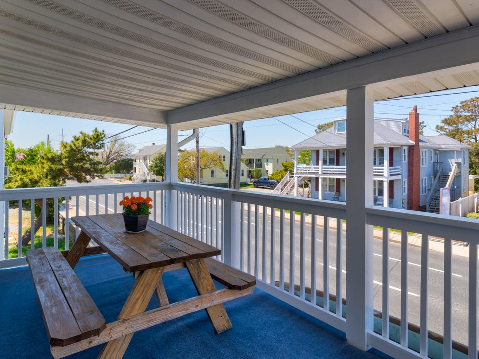 Front porch with picnic table at Ocean City, Maryland vacation rental