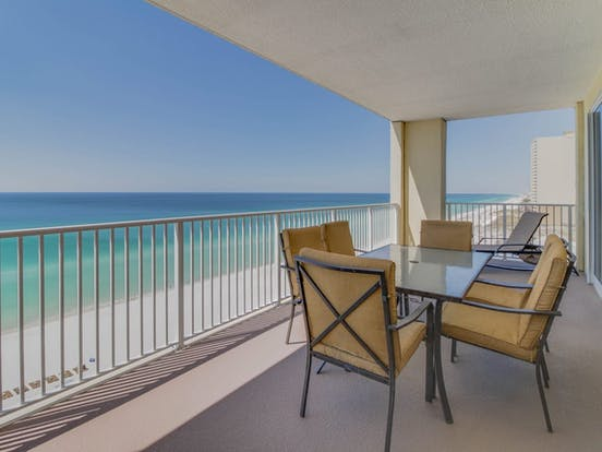 Balcony with ocean views in Panama City Beach