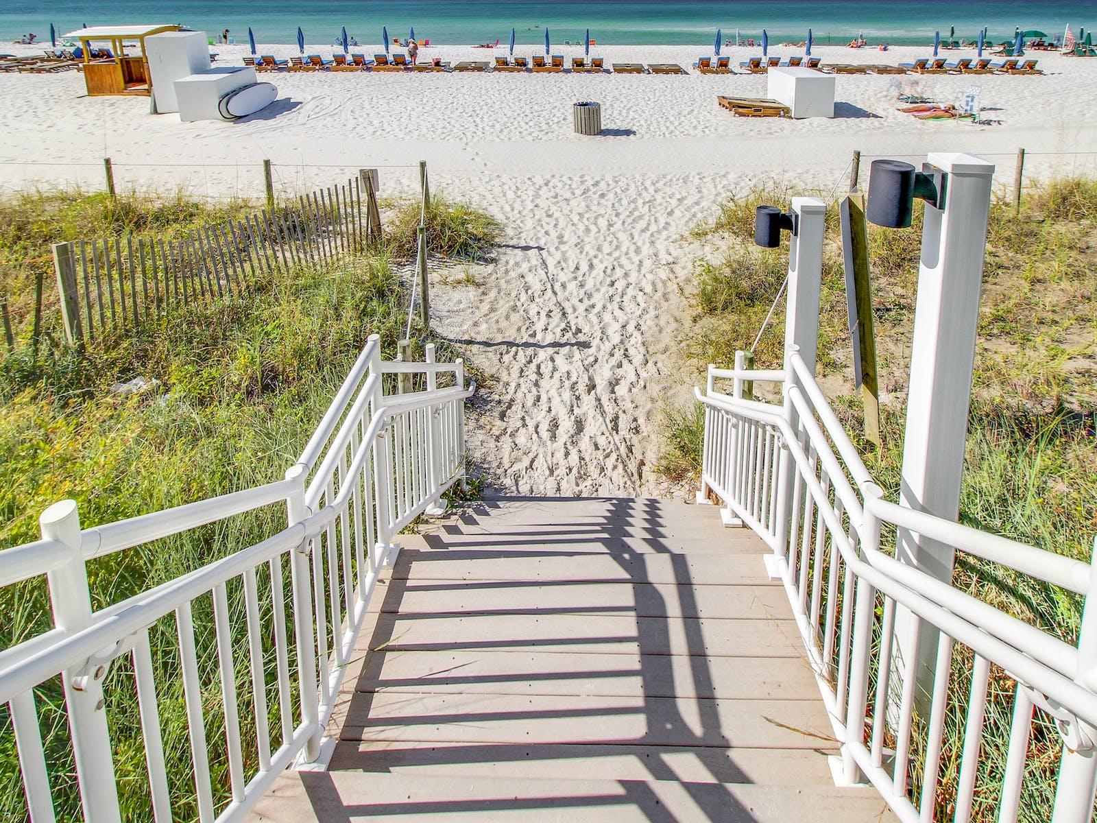 deck down to beach in panama city beach, fl