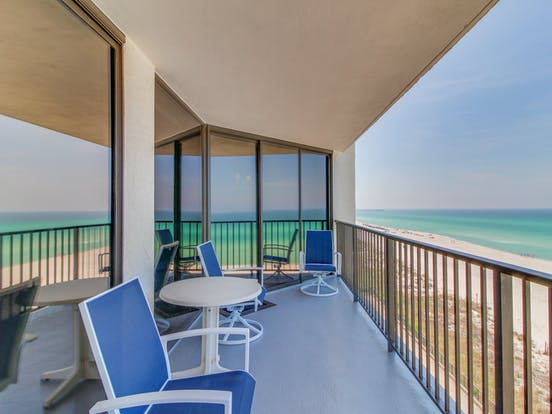 Balcony of Panama City Beach, FL condo rental overlooking the beach
