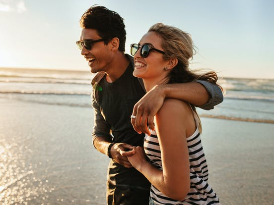 A couple enjoying a beach vacation