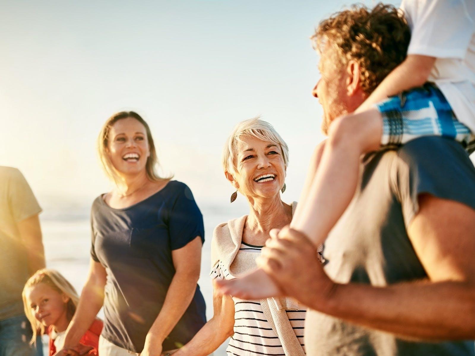 Family enjoying a beach vacation