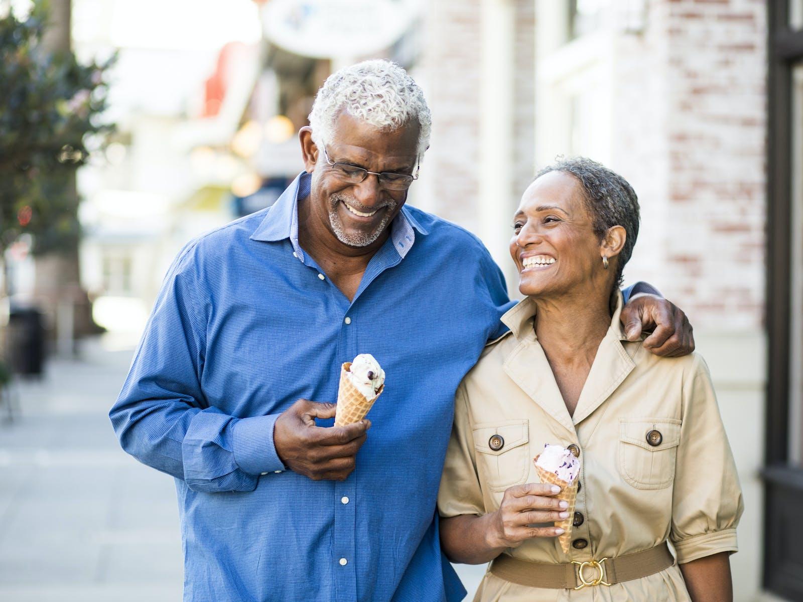 An older couple enjoying ice cream