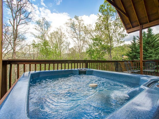 Private hot tub at Mountain Breeze Cabin in Pigeon Forge, TN