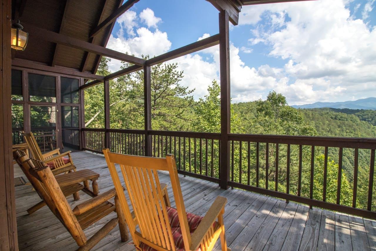 Hillside views from Rocky Top Jewel Cabin located Townsend, TN
