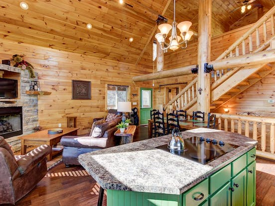 Interior of Moose Lodge Cabin located in Sevierville, TN