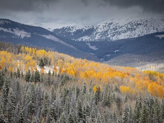 snowy mountains in Vail, CO