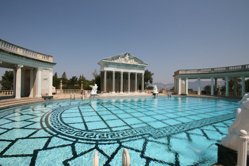 the pool at Hearst Castle surrounded by ancient style architecture