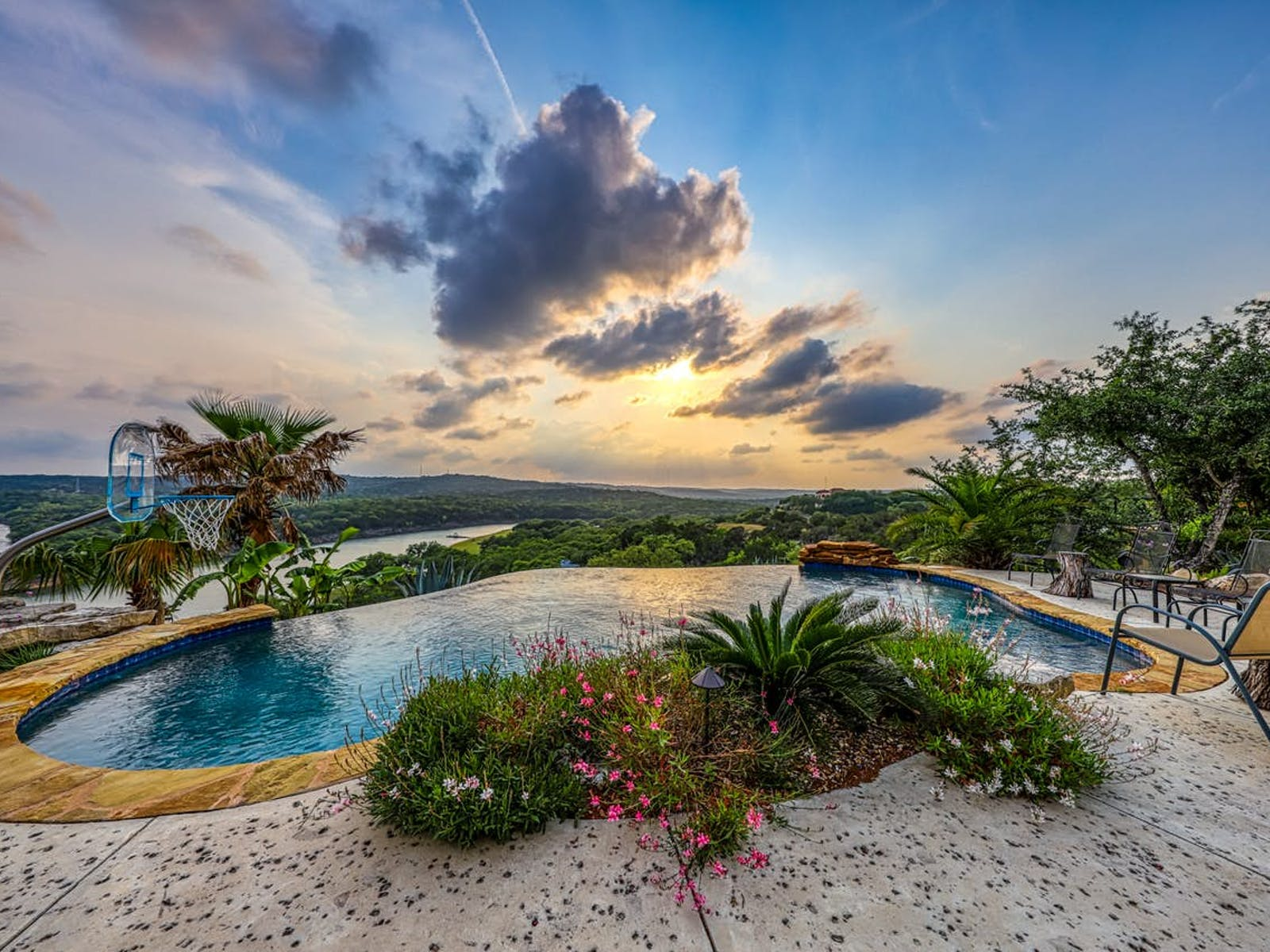 Lake Travis vacation rental with outdoor pool overlooking the lake