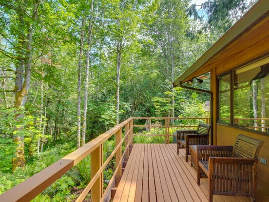 Large deck of Port Angeles vacation home