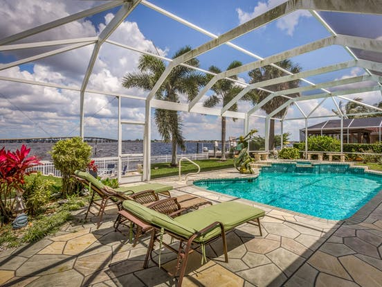 outdoor pool of a riverfront vacation rental in Florida