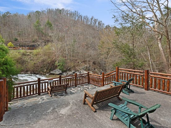 Pigeon Forge, TN vacation rental deck overlooking a river
