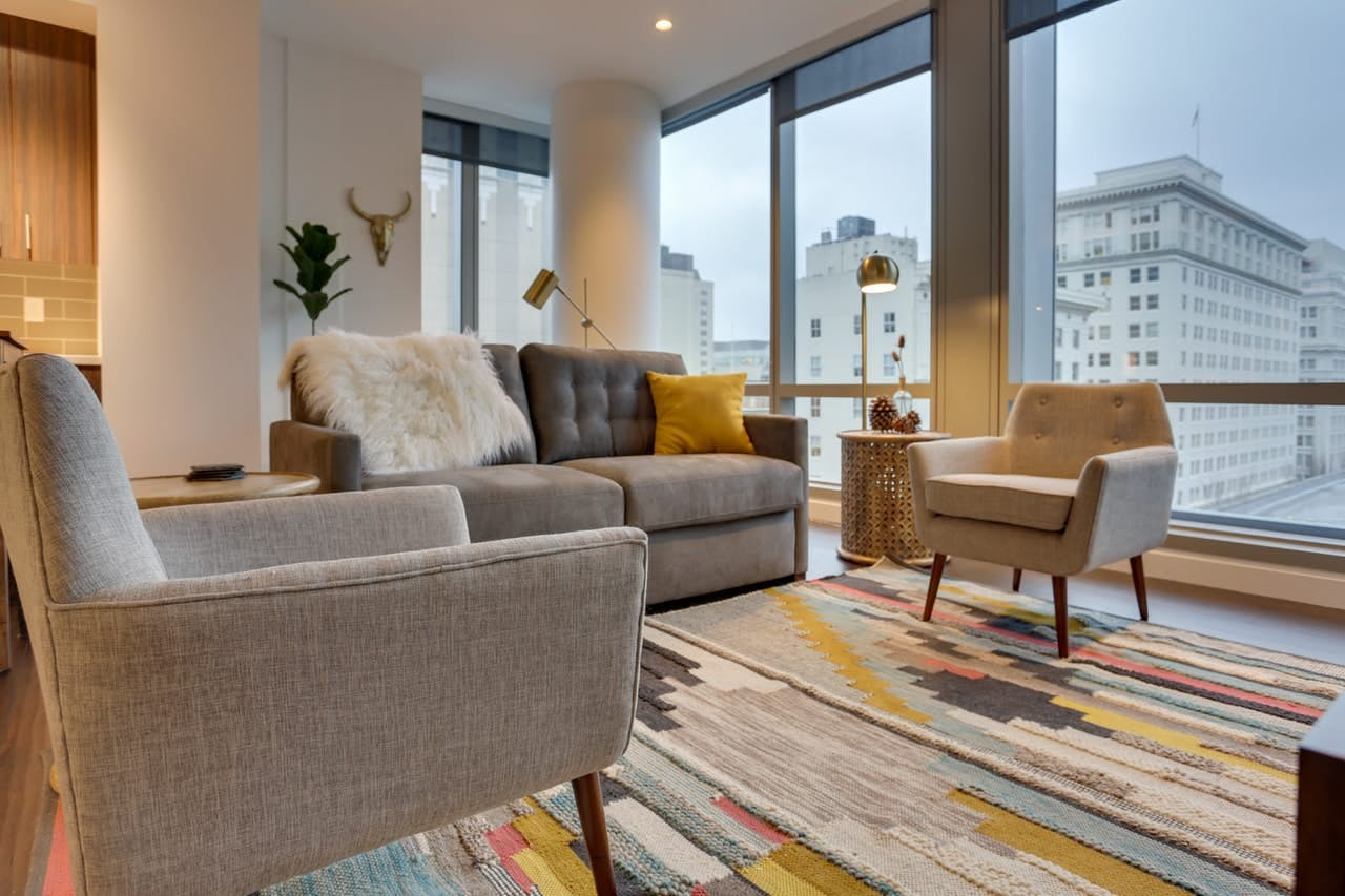 the living room at Park Avenue West 604