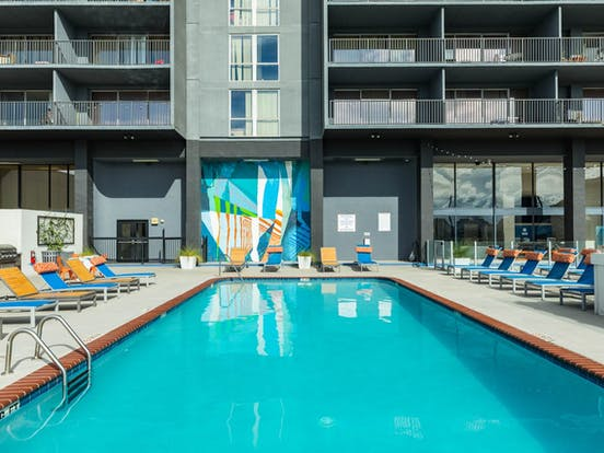 Outdoor, rooftop pool of Houston, TX high-rise apartment