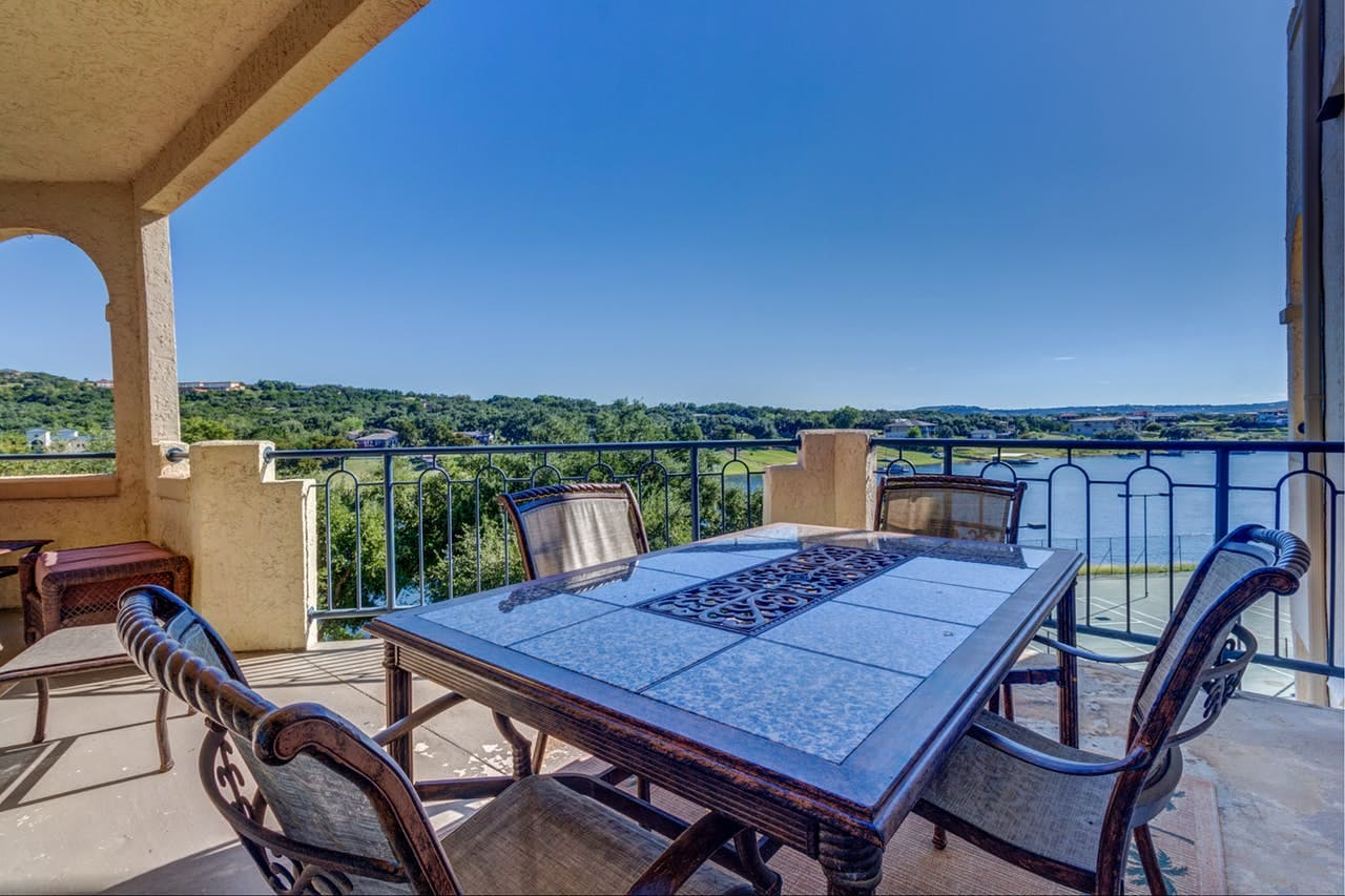Outdoor space of Lago Vista vacation rental with views of Lake Travis