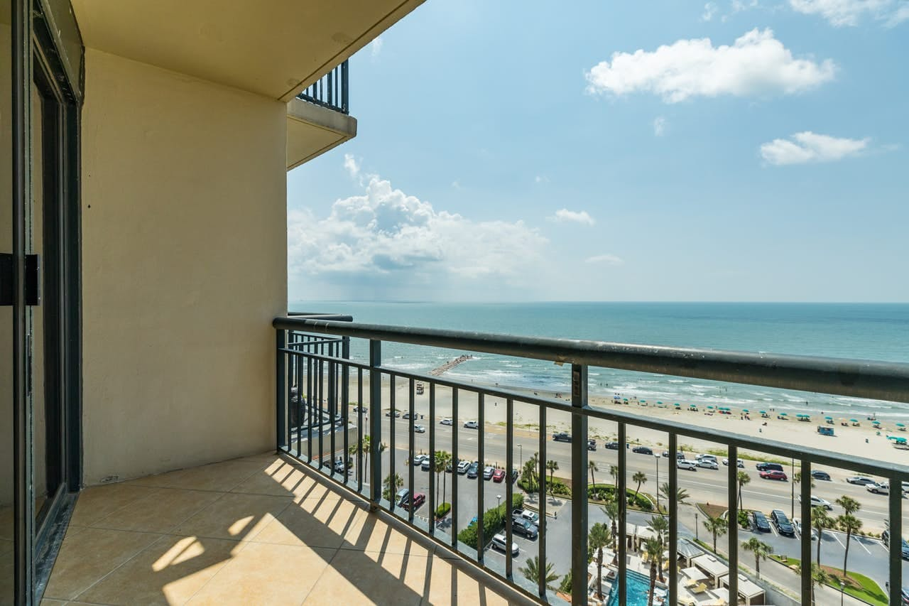 Gulf views from balcony of Galveston vacation condo