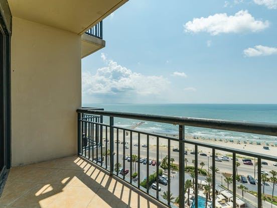 Gulf views from balcony of Galveston vacation condo