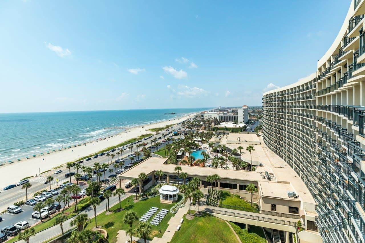 Views of the Gulf from San Luis Resort in Galveston, TX