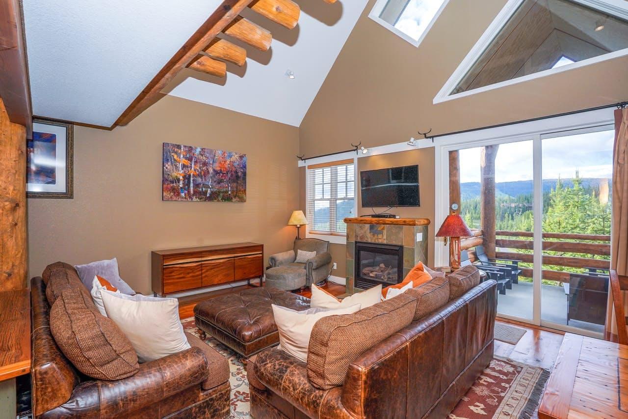 a living room in a big sky condo