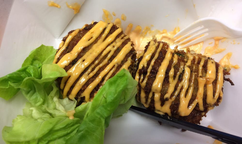 Cap'n Crunch crab cakes at Two for the Road food truck